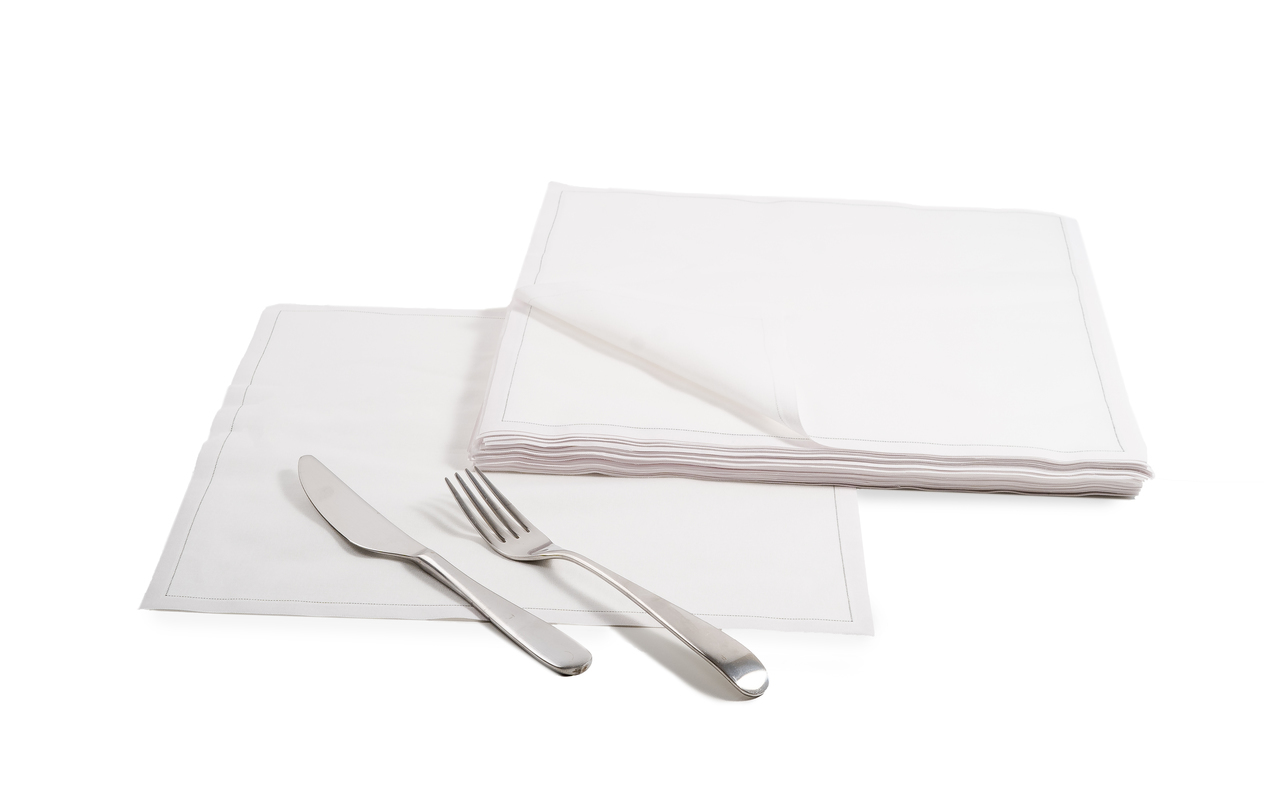 "White Cotton Dinner Napkins - 12.6"" x 12.6"" - 25 Units"