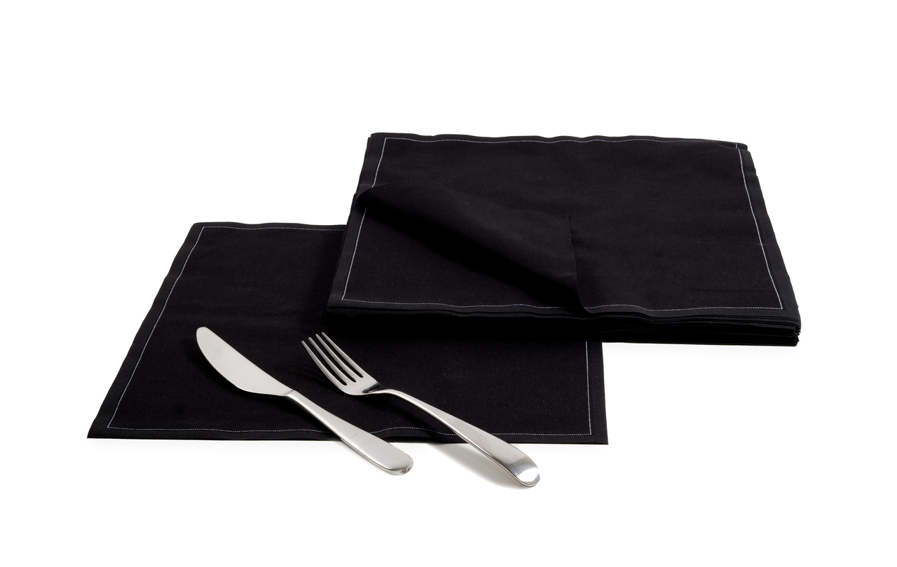 "Black Cotton Dinner Napkins (200 GSM) - 12.6"" x 12.6"" - 250 Units"