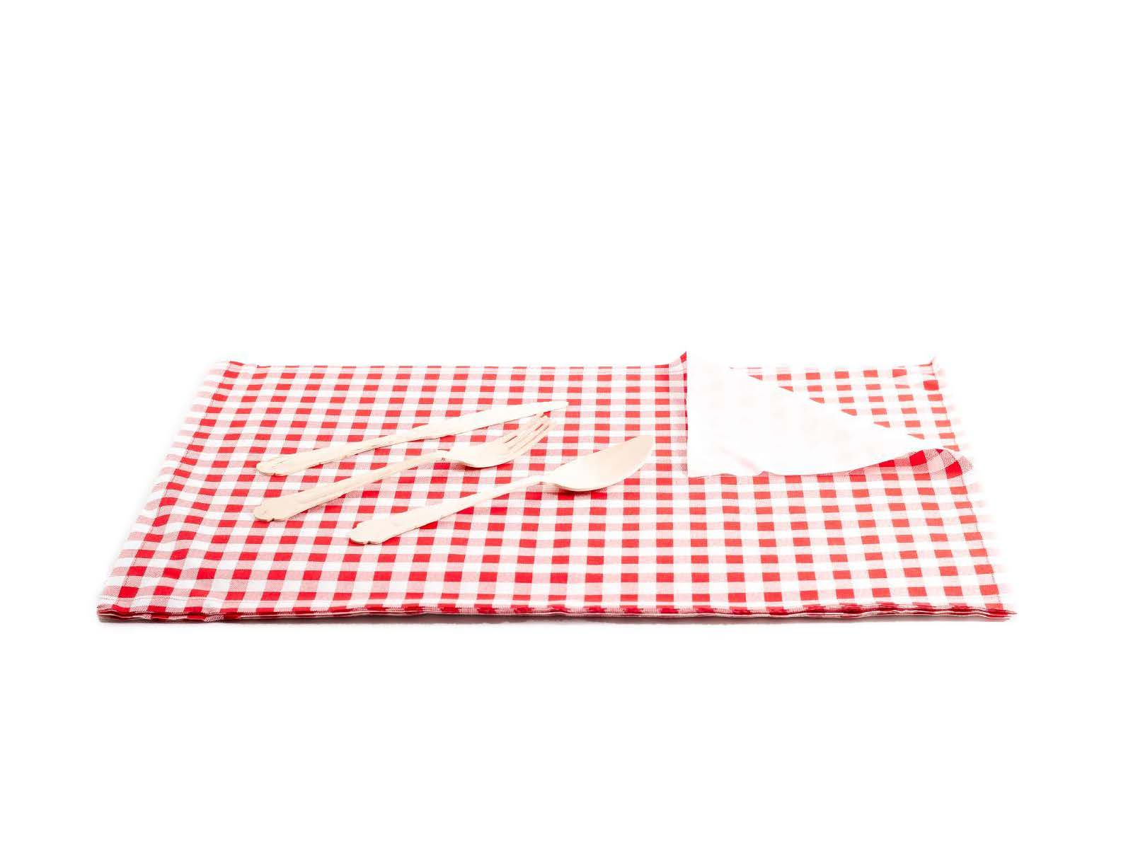 "Red Vichy Cotton Printed Placemat - 18.9"" x 12.6"" - 12 Units"