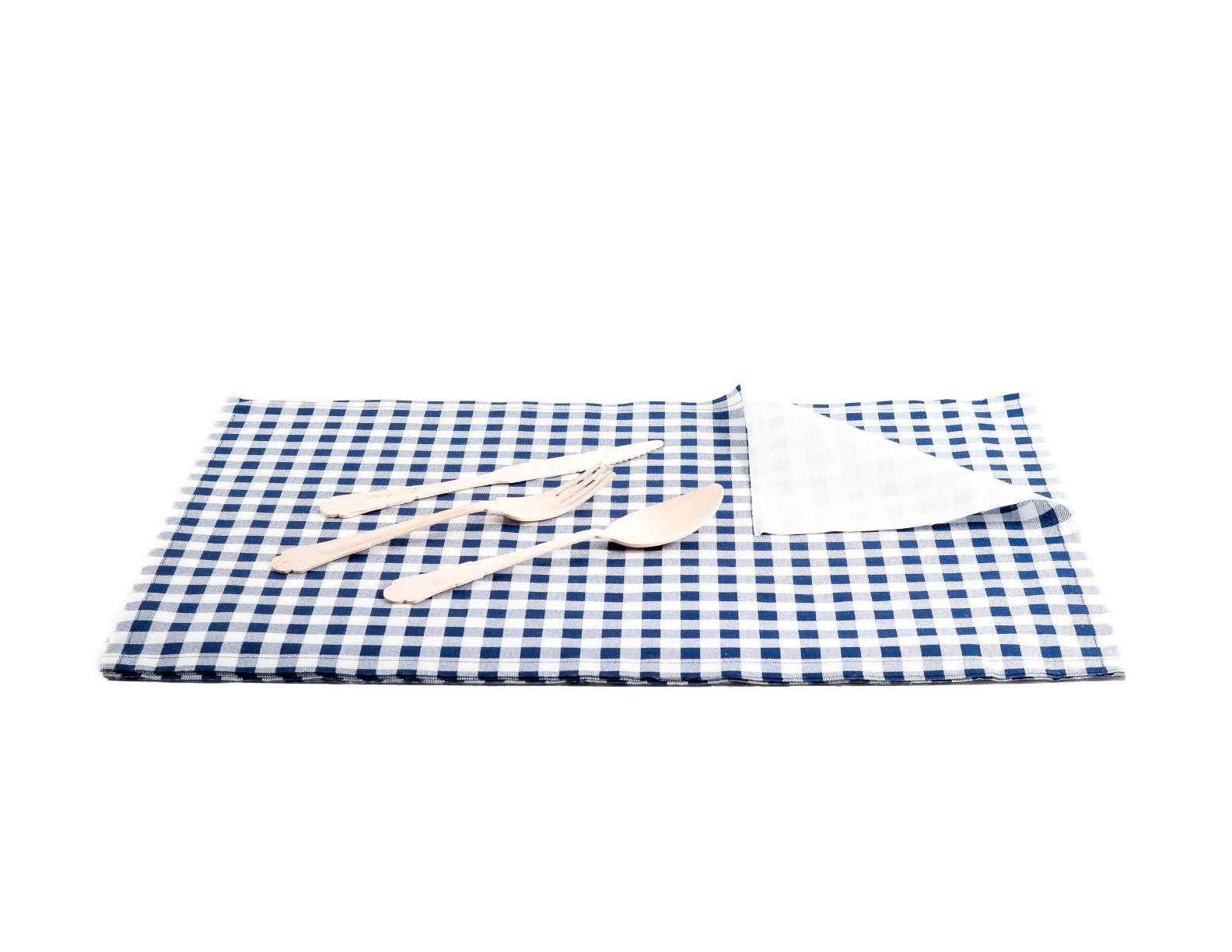 "Blue Vichy Cotton Printed Placemat - 18.9"" x 12.6"" - 120 Units"
