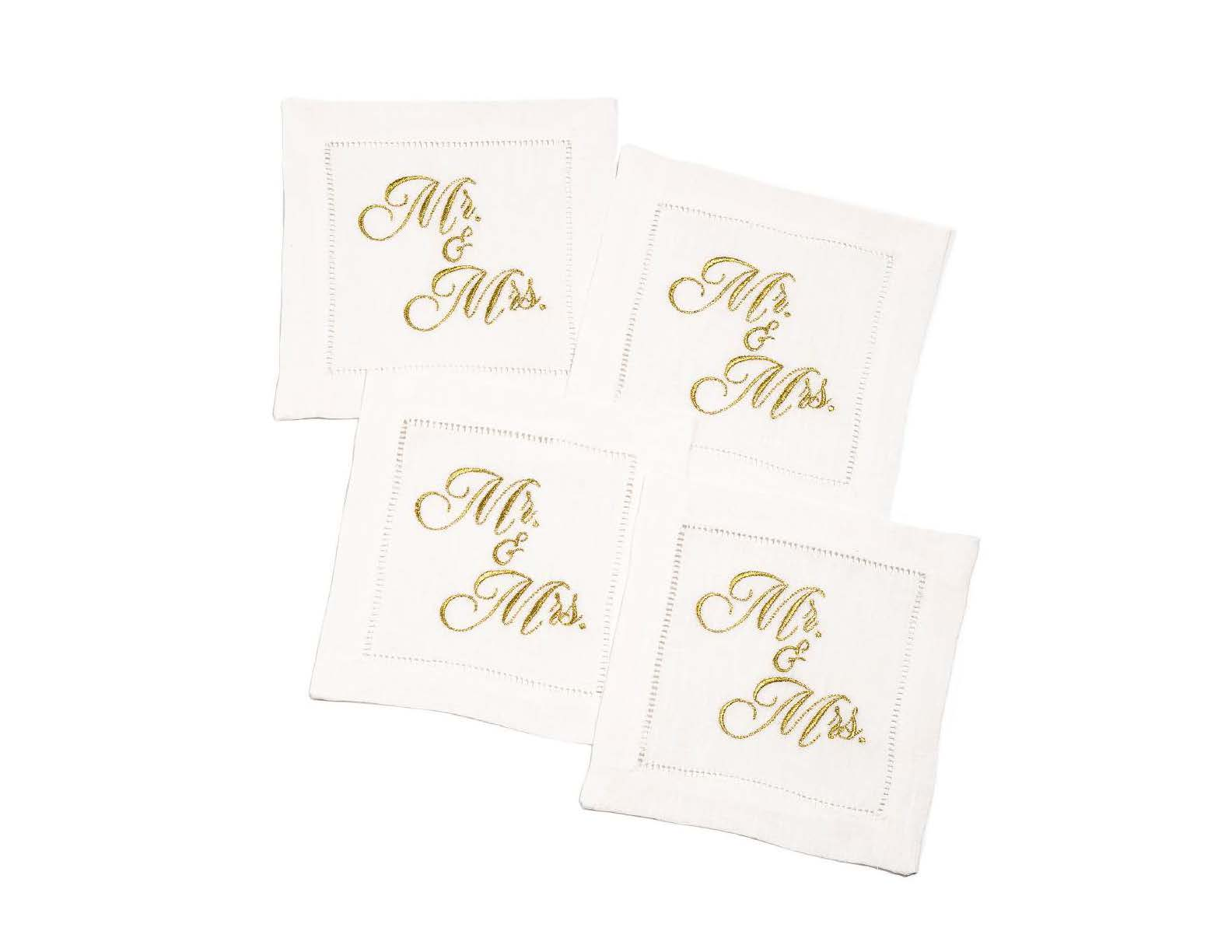 "Embroidered Linen Cocktail with Hemstitch - ""Mr. & Mrs."" (Gold) - 5.75"" x 5.75"" - 4 Units per Pack"