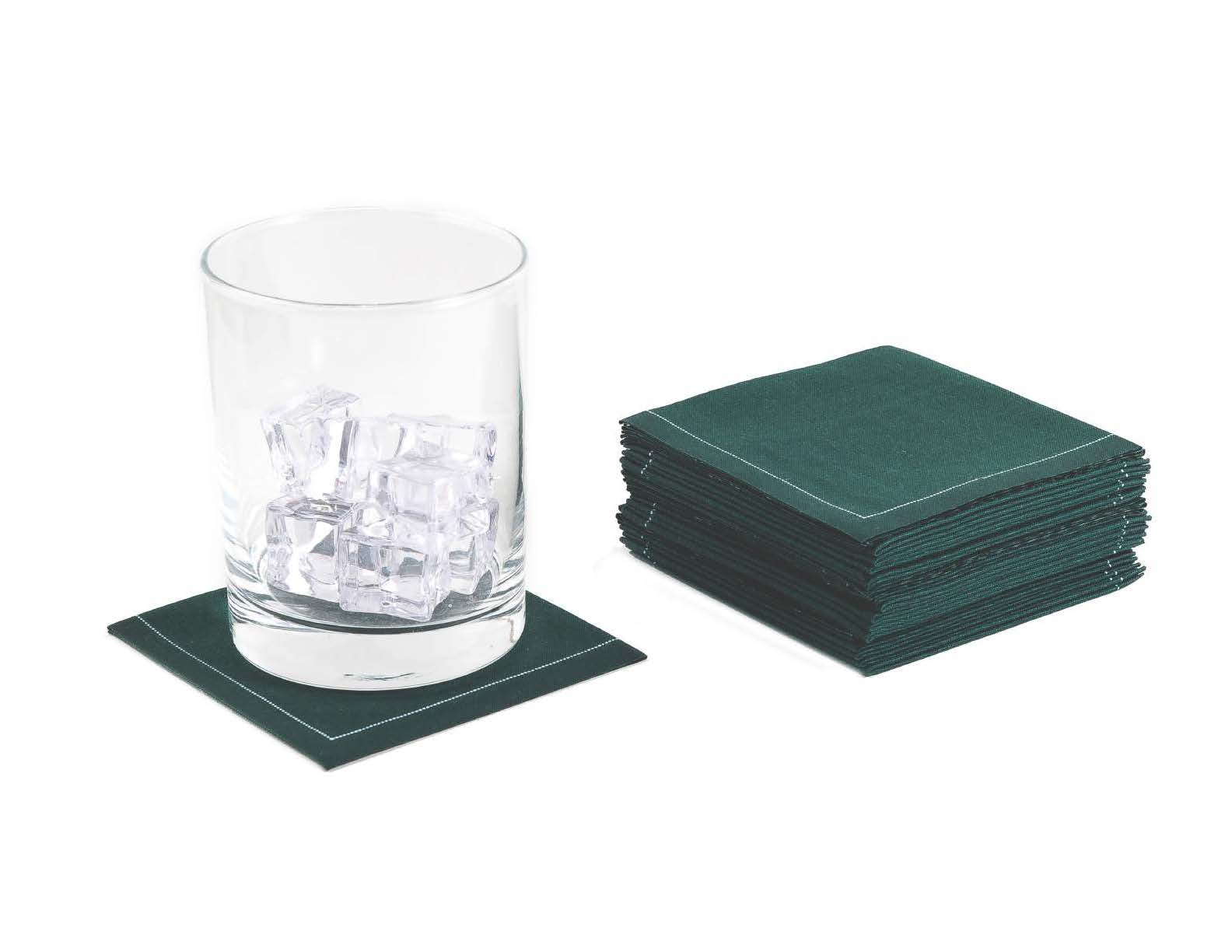 "British Racing Green Cotton 1/4 Fold Cocktail (140 GSM) - 8"" x 8"" (folded 4"" x 4"") - 600 units"