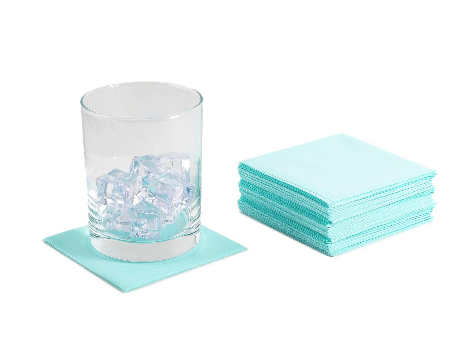 "Sea Glass Cotton 1/4 Fold Cocktail (140 GSM) - 8"" x 8"" (folded 4"" x 4"") - 600 units"