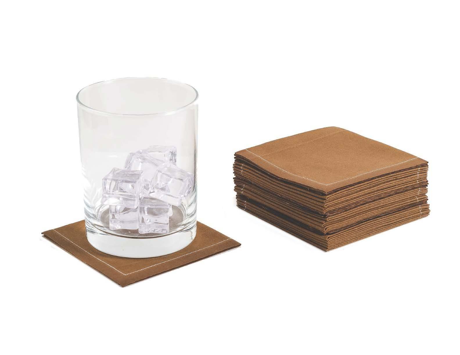 "Khaki Cotton 1/4 Fold Cocktail (140 GSM) - 8"" x 8"" (folded 4"" x 4"") - 600 units"