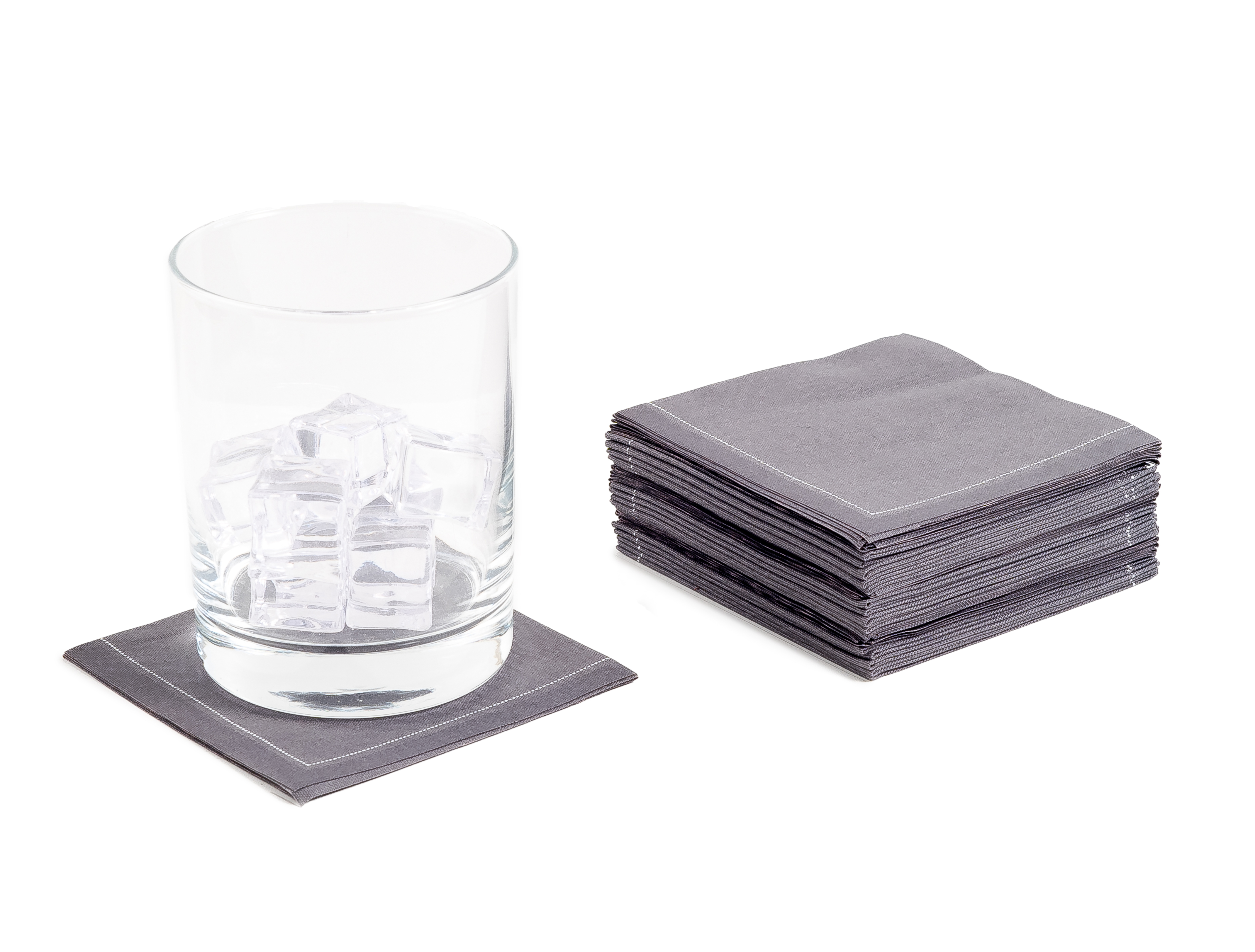 "Anthracite Grey Cotton 1/4 Fold Cocktail (140 GSM) - 8"" x 8"" (folded 4"" x 4"") - 600 units"