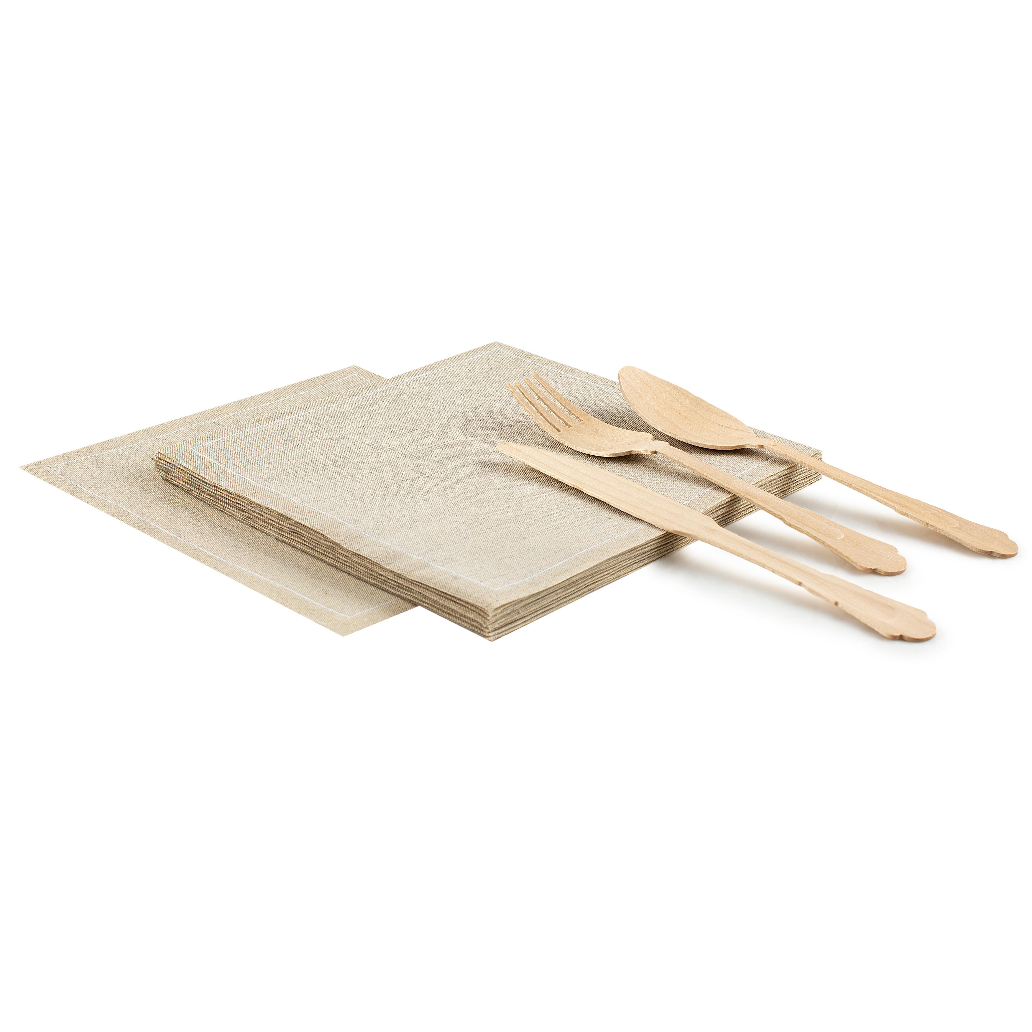 "Natural Linen Luncheon - 8"" x 8"" - 25 units"