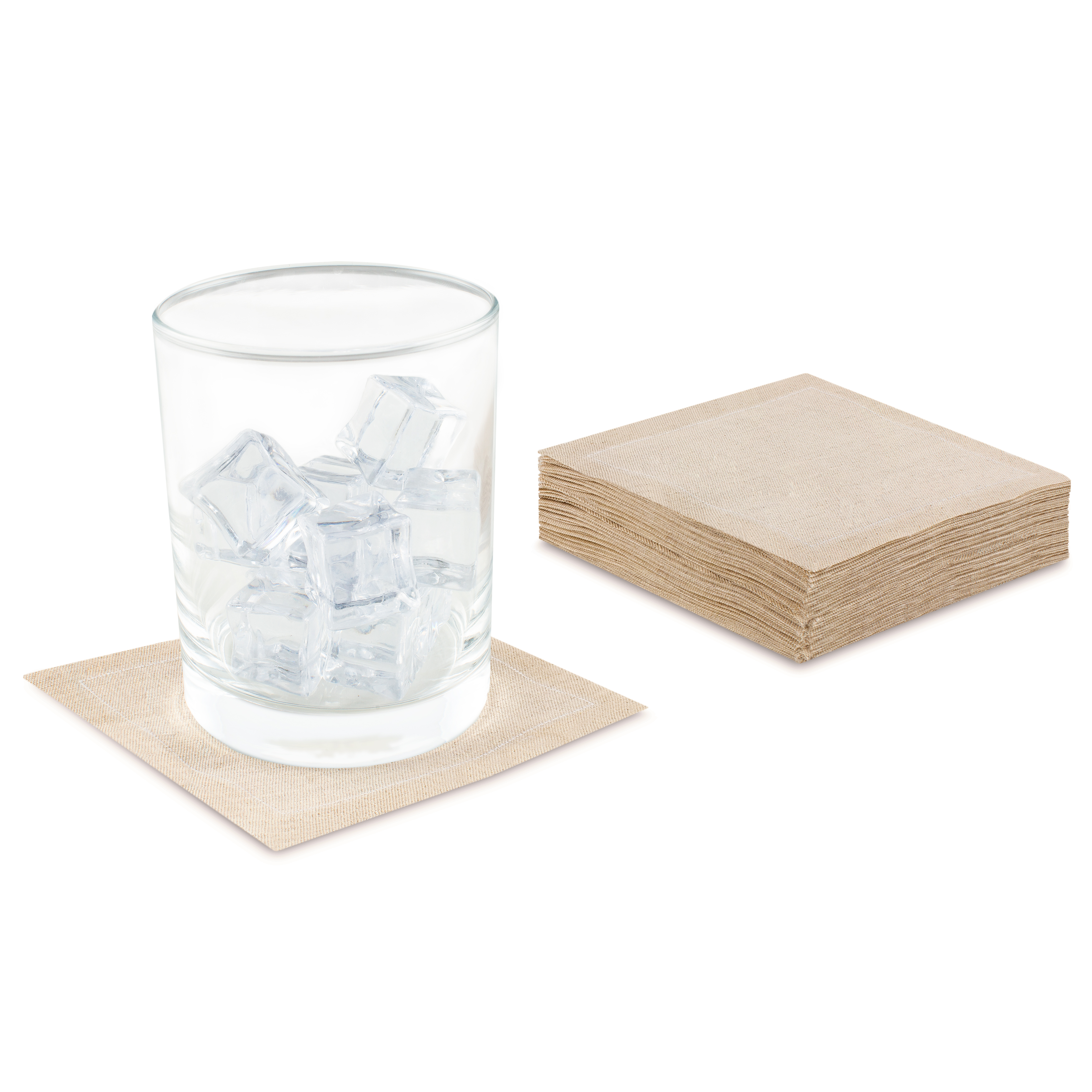 "Natural Linen Cocktail - 4.5"" x 4.5"" - 50 Units"