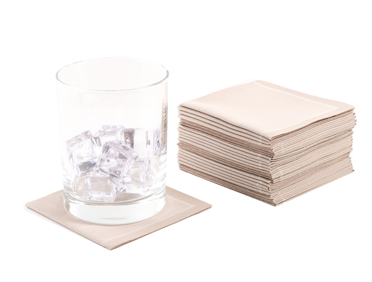 "Sand Cotton 1/4 Fold Cocktail Premium - 8"" x 8"" (folded 4"" x 4"") - 30 units"
