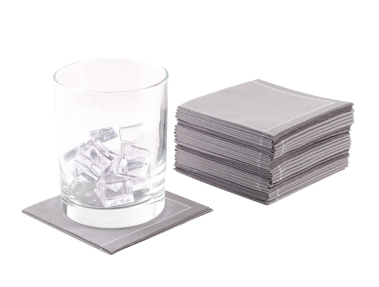 "Grey Cotton 1/4 Fold Cocktail Premium - 8"" x 8"" (folded 4"" x 4"") - 30 units"