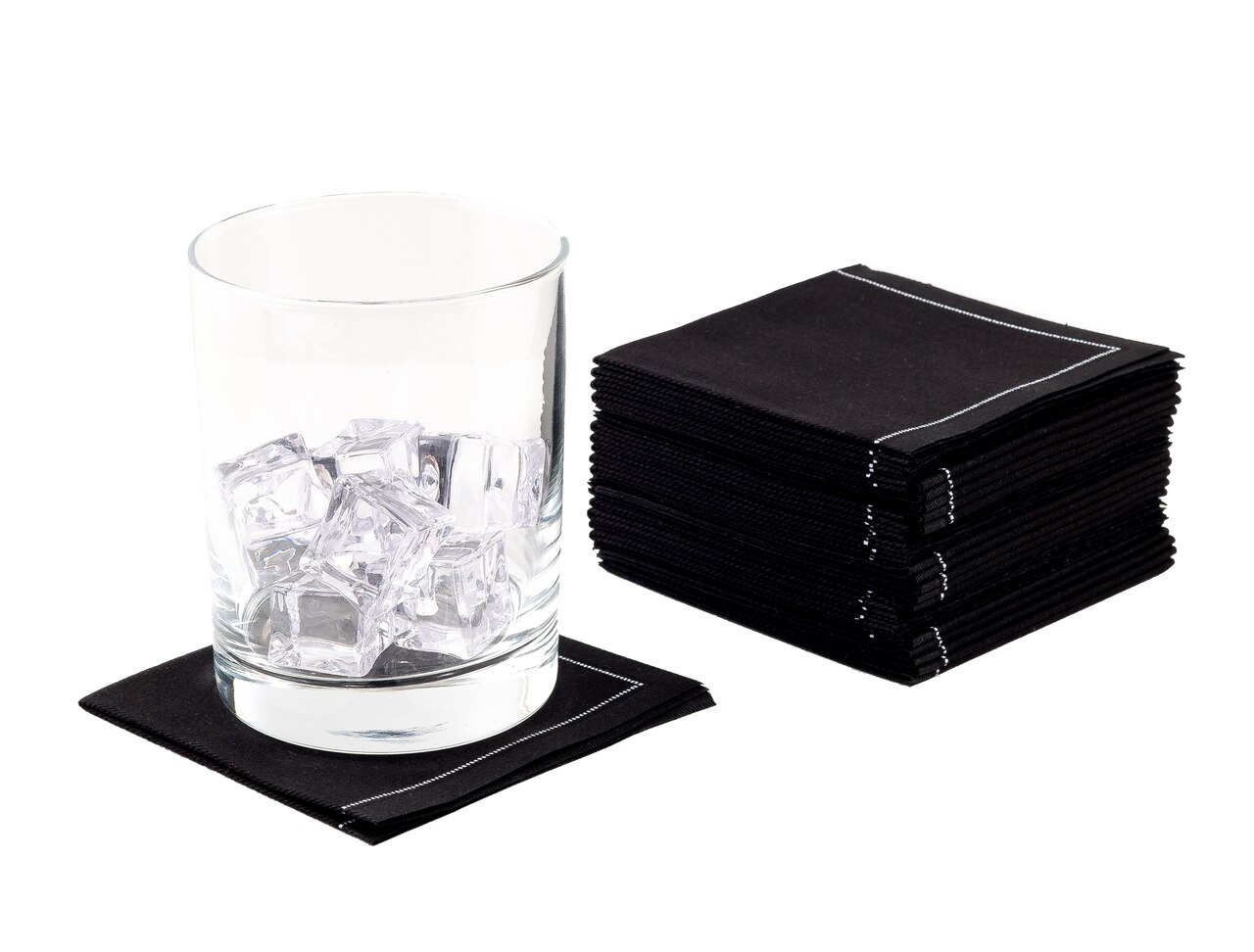 "Black Cotton 1/4 Fold Cocktail Premium - 8"" x 8"" (folded 4"" x 4"") - 30 units"