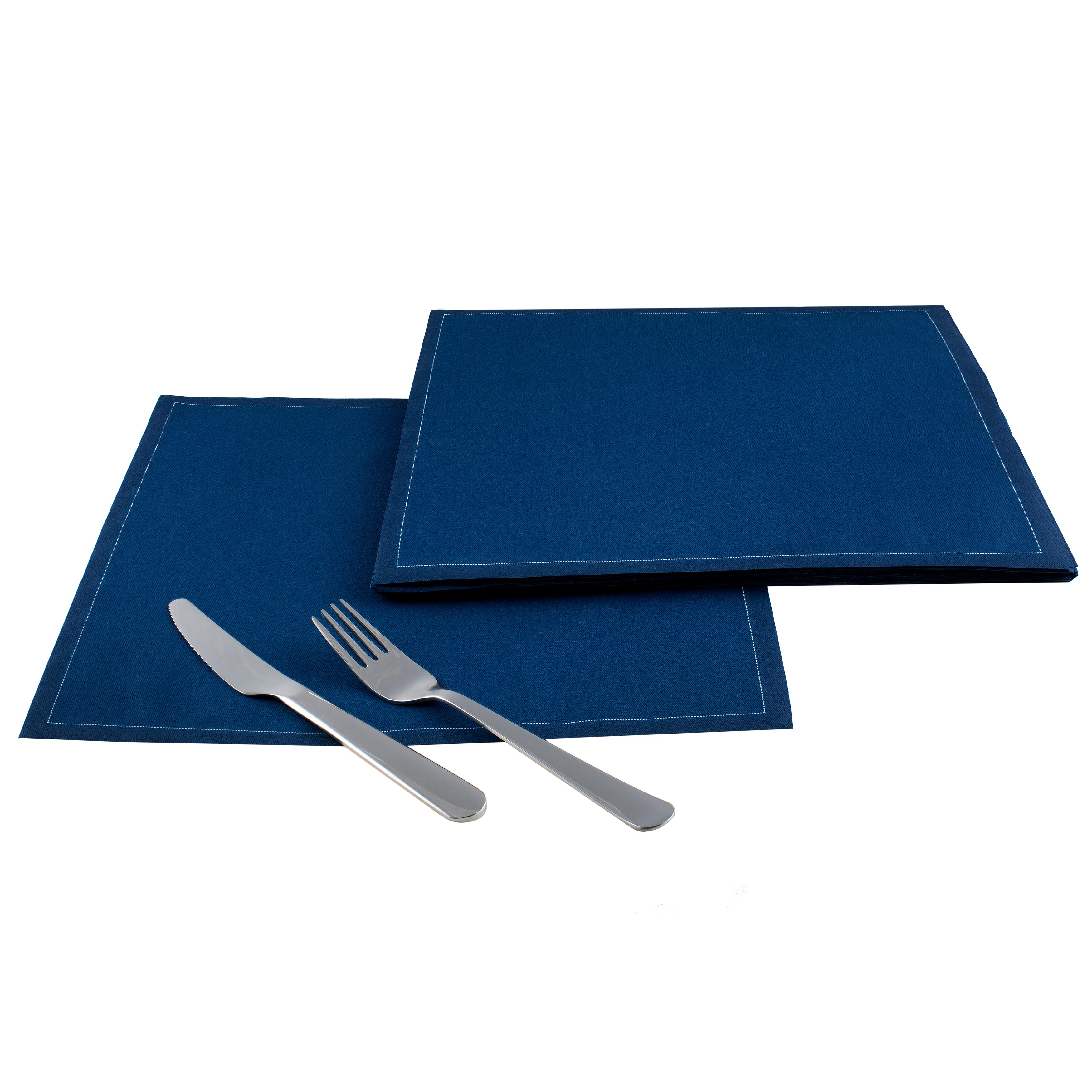 "Midnight Blue Cotton Dinner Napkins - 12.6"" x 12.6"" - 25 Units"