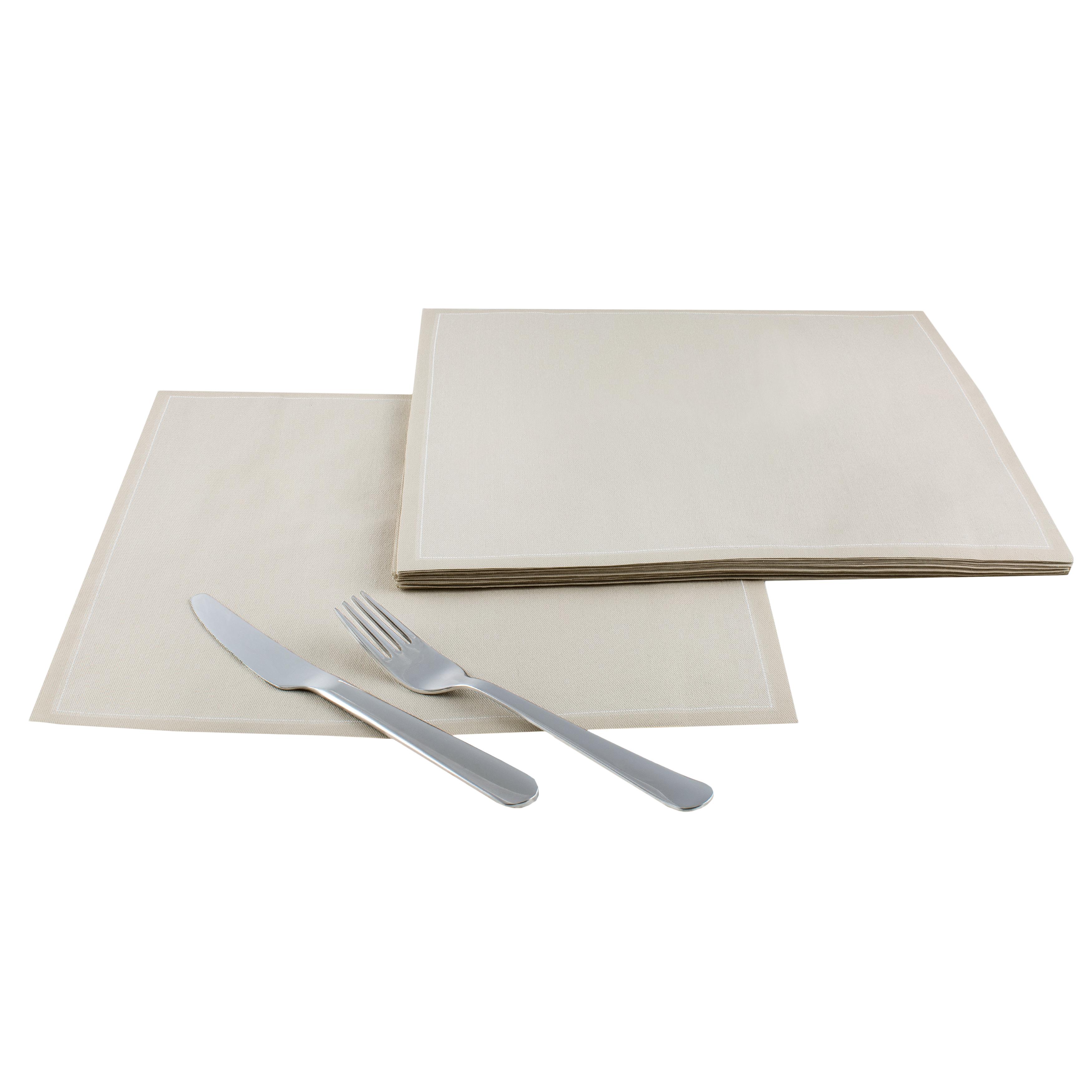 "Sand Cotton Dinner Napkins - 12.6"" x 12.6"" - 25 Units"