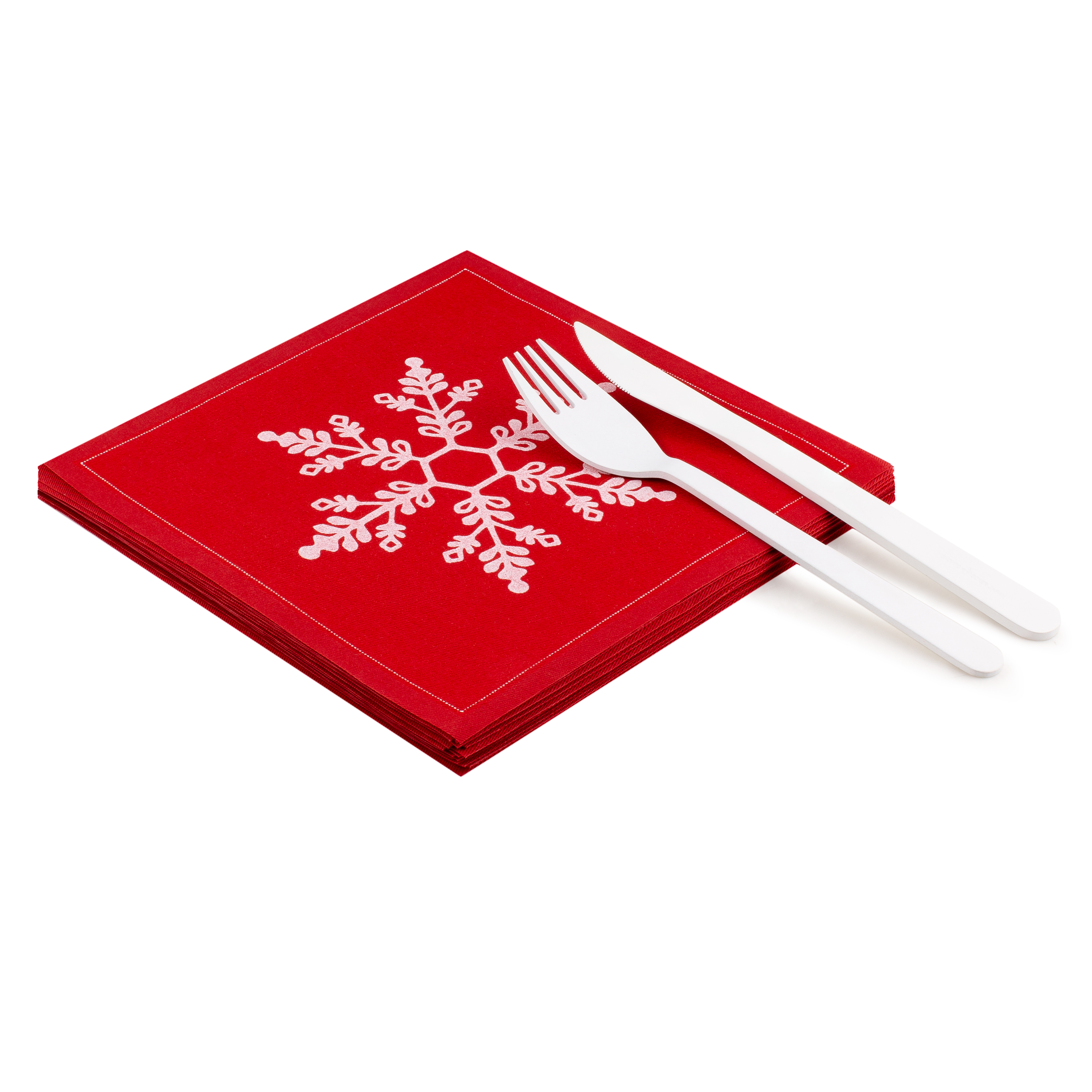 "Snowflake Red Cotton Luncheon - 8"" x 8"" - 25 units"