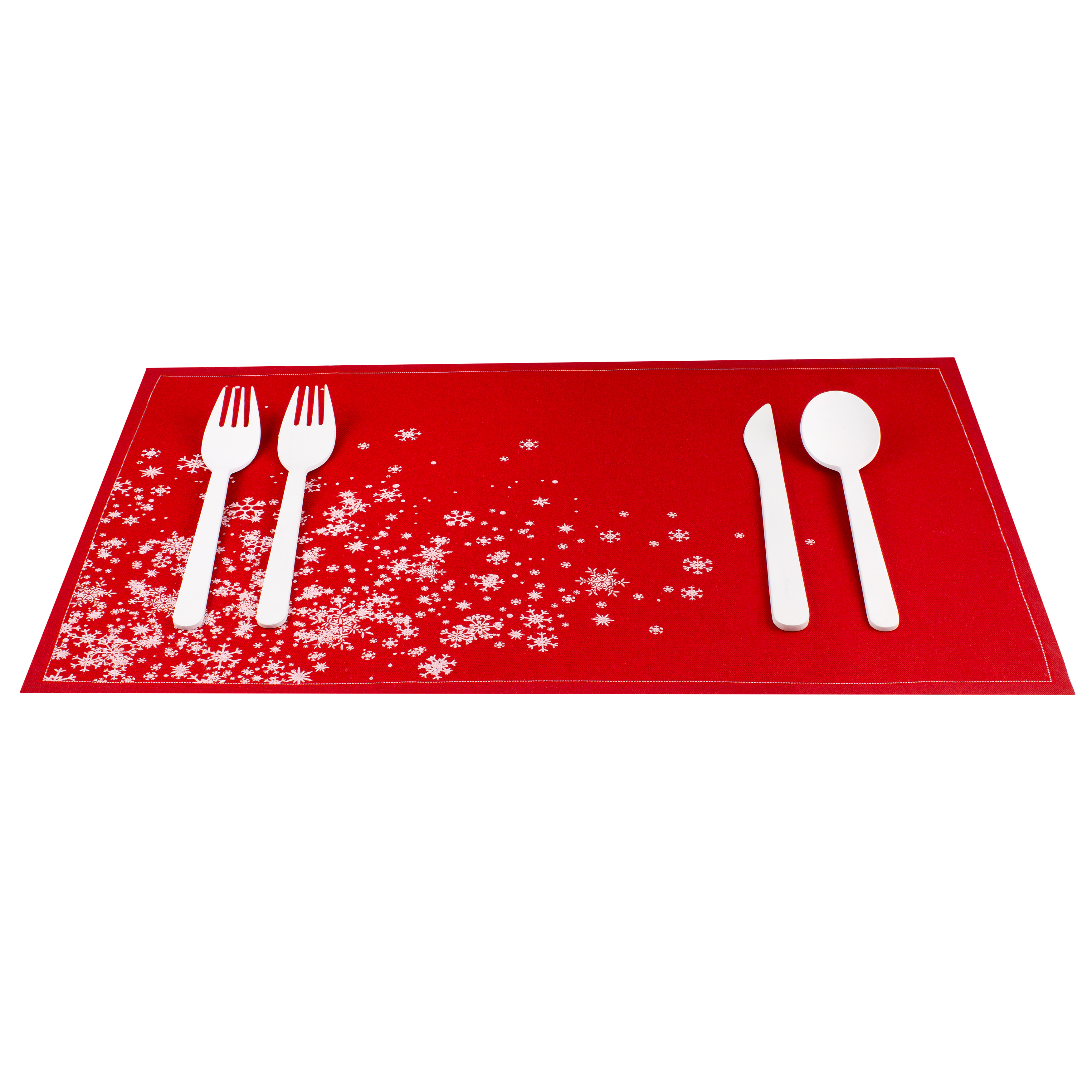 """Snowflake Cascade Red Cotton Placemat - 18.9"""" x 12.6"""" - 12 Units"""