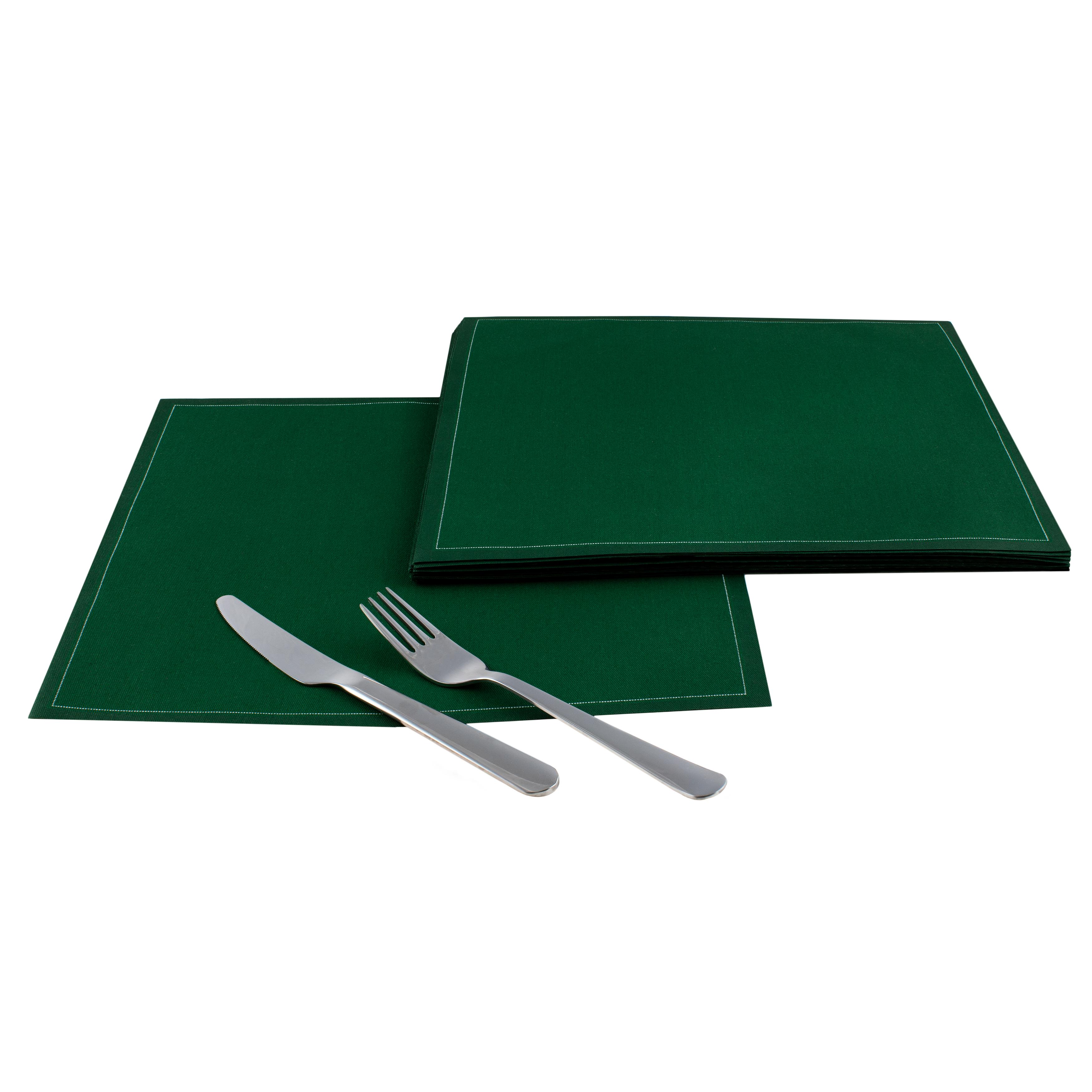 "British Racing Green Cotton Dinner Napkins - 12.6"" x 12.6"" - 25 Units"