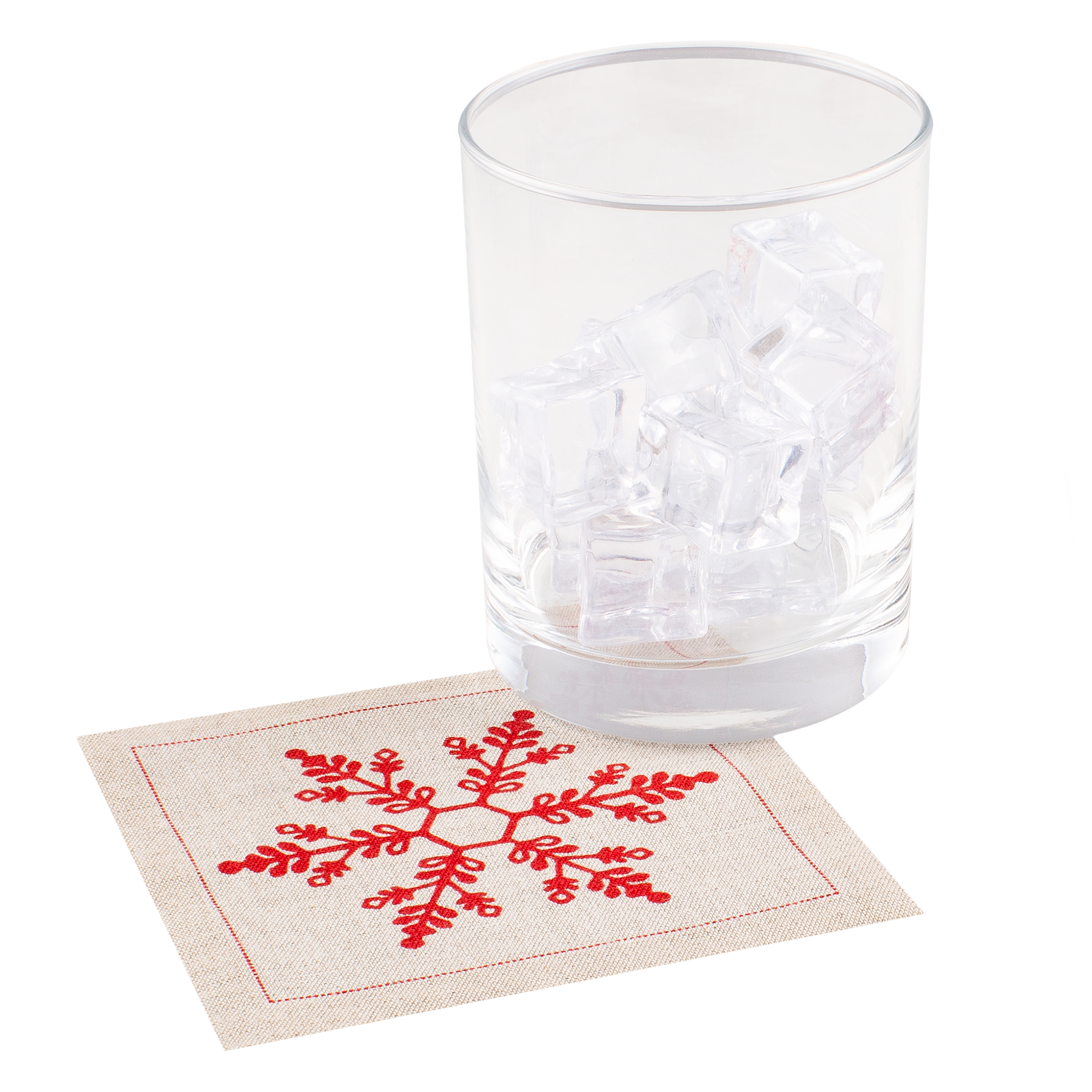 "Snowflake Natural Linen Cocktail - 4.5"" x 4.5"" - 1200 Units"