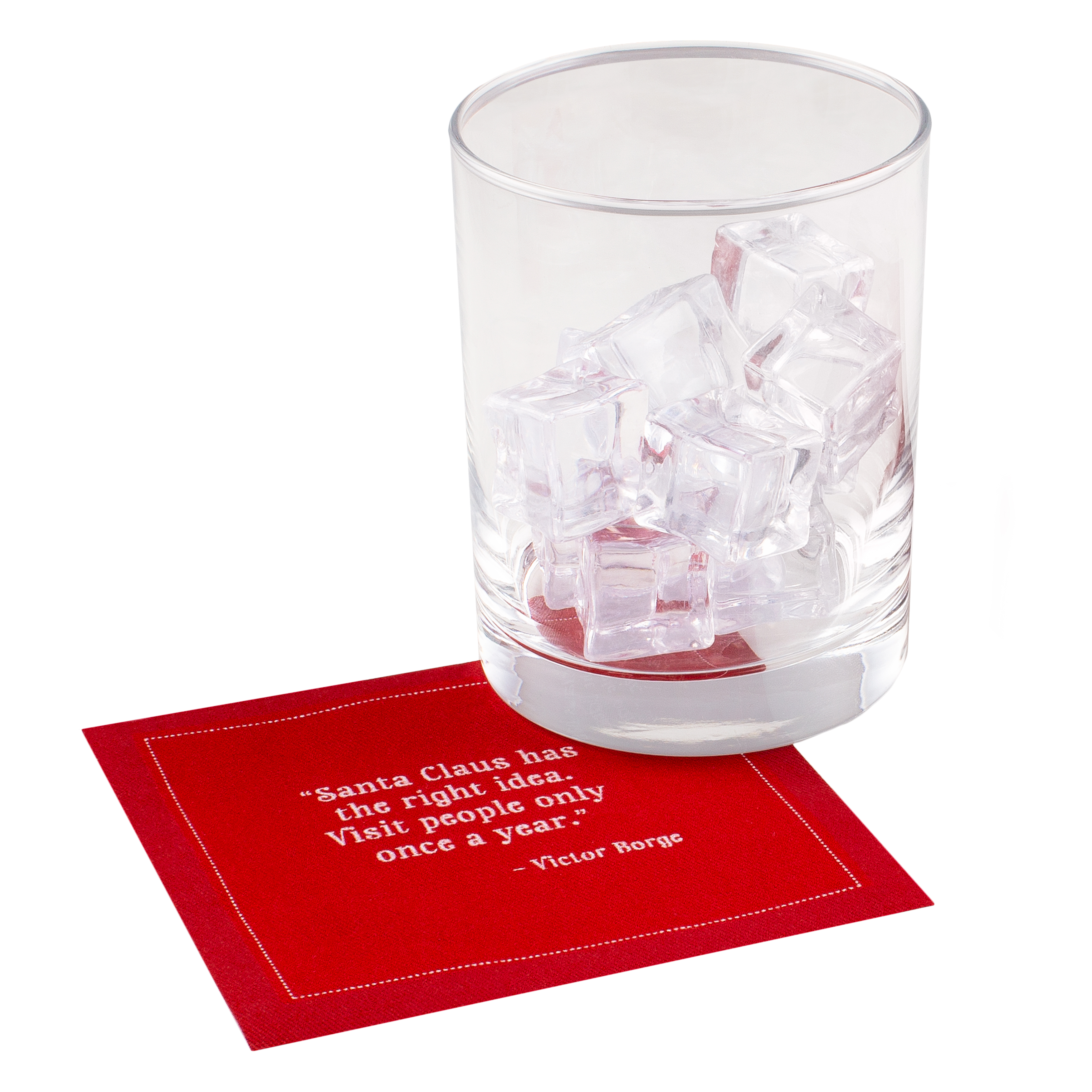 "Christmas Quotes Red Cotton Cocktail - 4.5"" x 4.5"" - 1200 Units - 50 units per pack"
