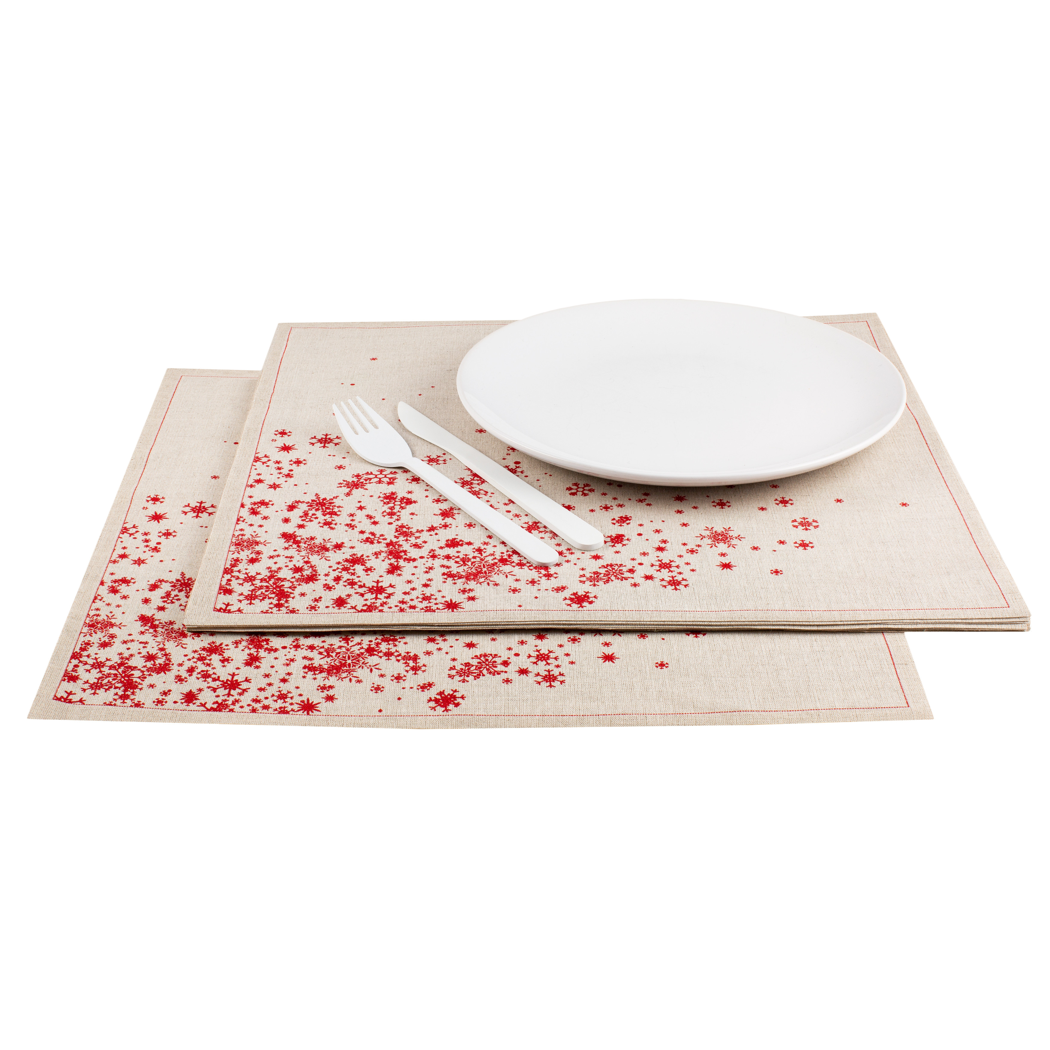 "Snowflake Cascade Natural Linen Premium Dinner - 15.8"" x 15.8"" - 120 Units"