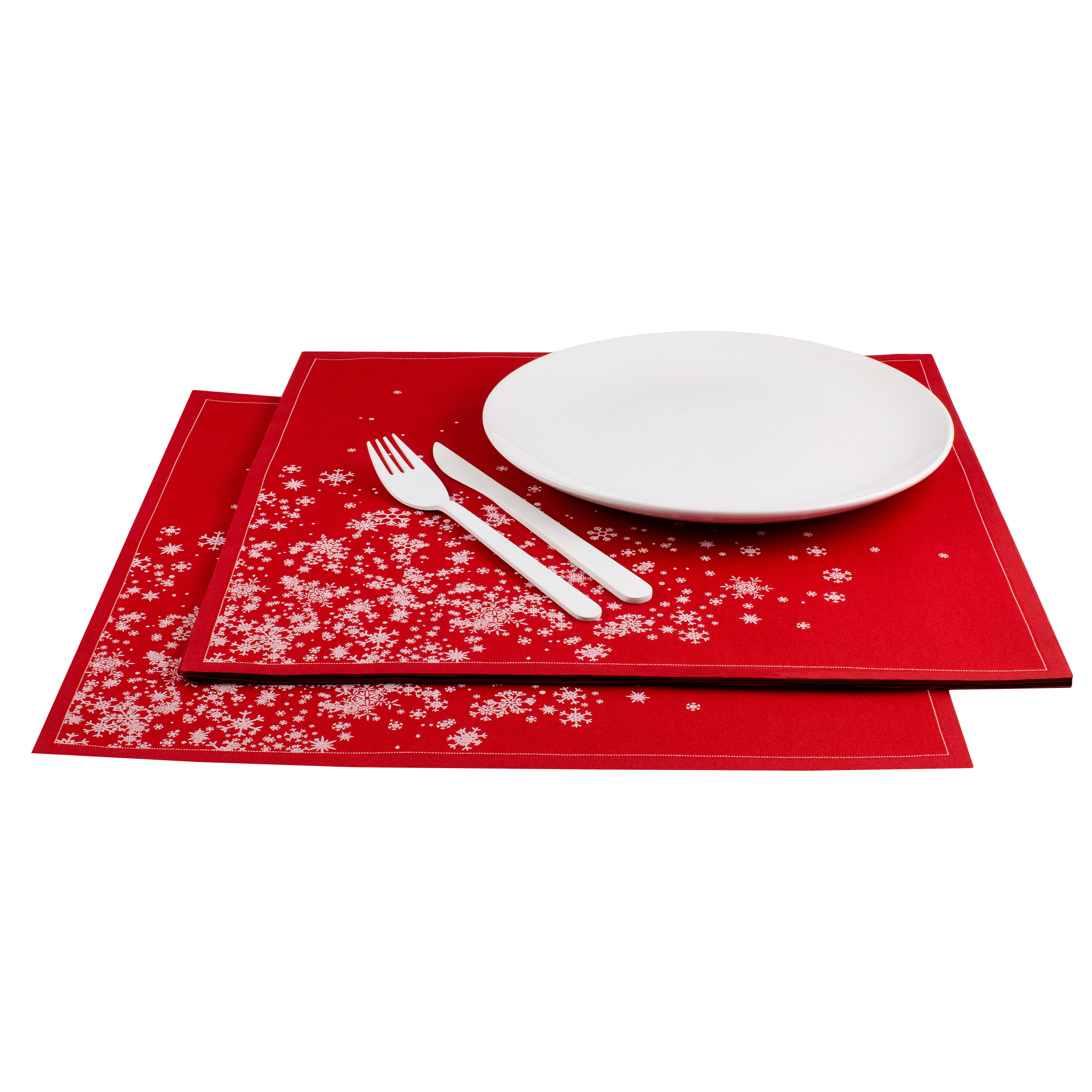"Snowflake Cascade Red Cotton Placemat - 18.9"" x 12.6"" - 120 Units"