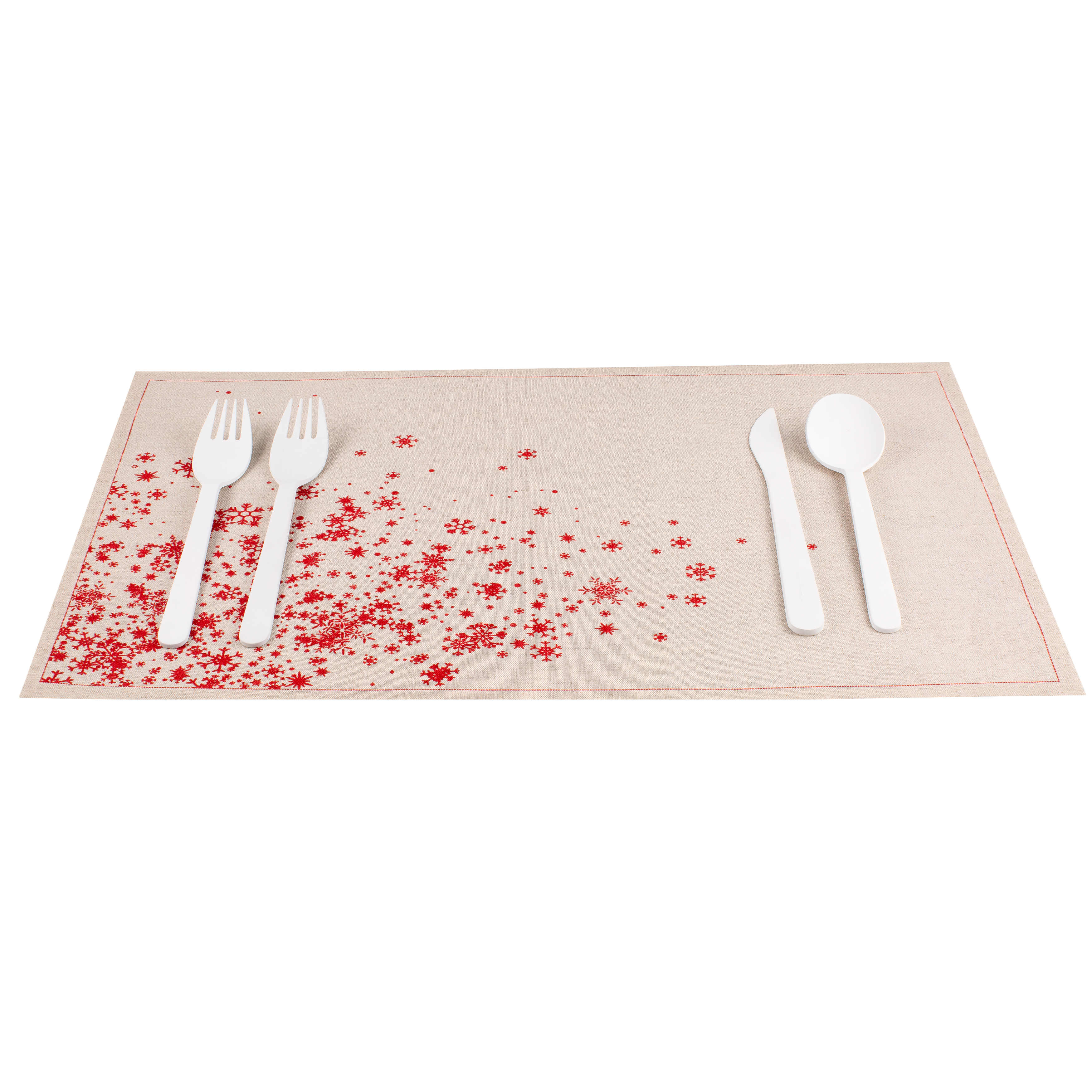 "Snowflake Cascade Natural Linen Placemat - 18.9"" x 12.6"" - 120 Units"