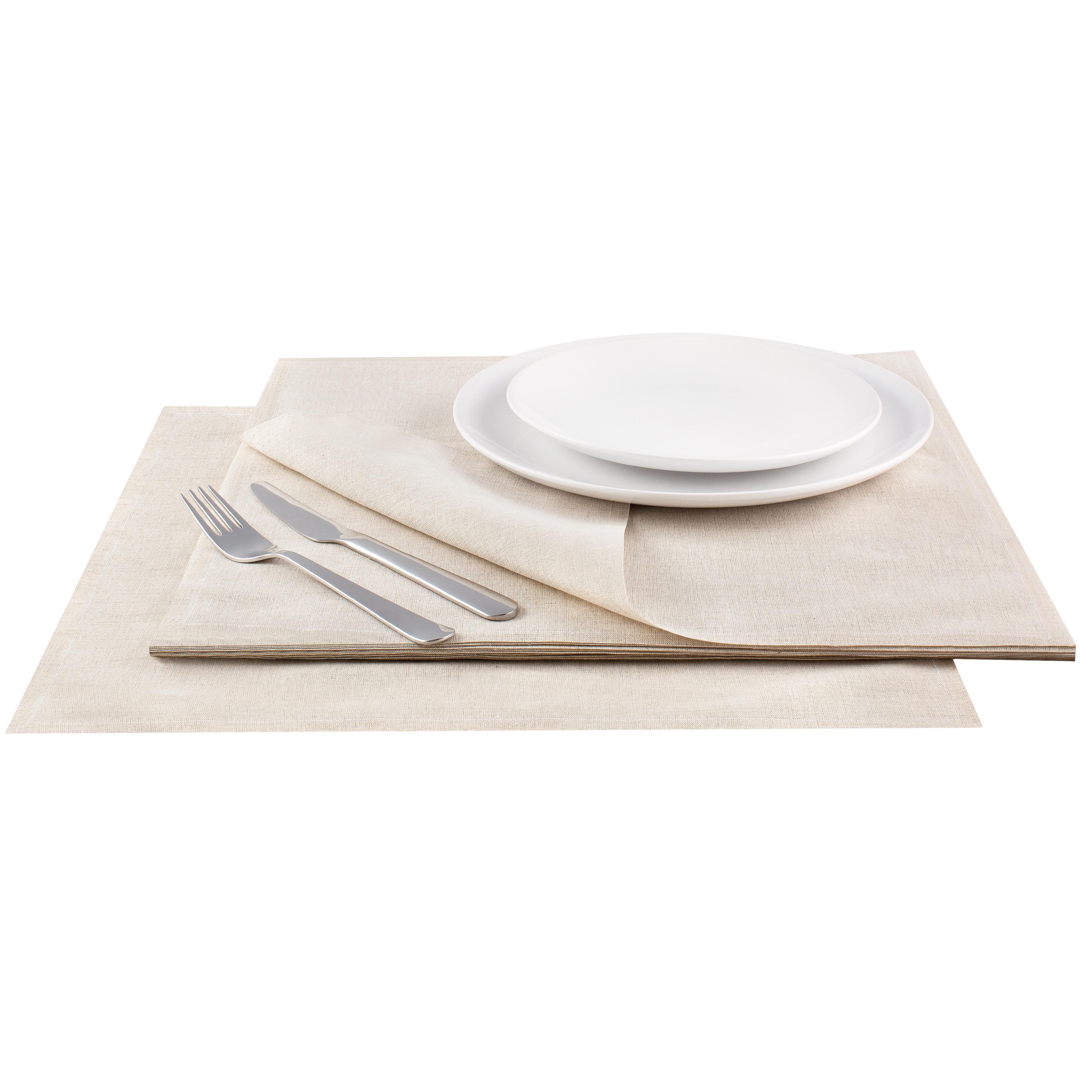 "Natural Linen Premium Dinner - 15.8"" x 15.8"" - 25 Units"