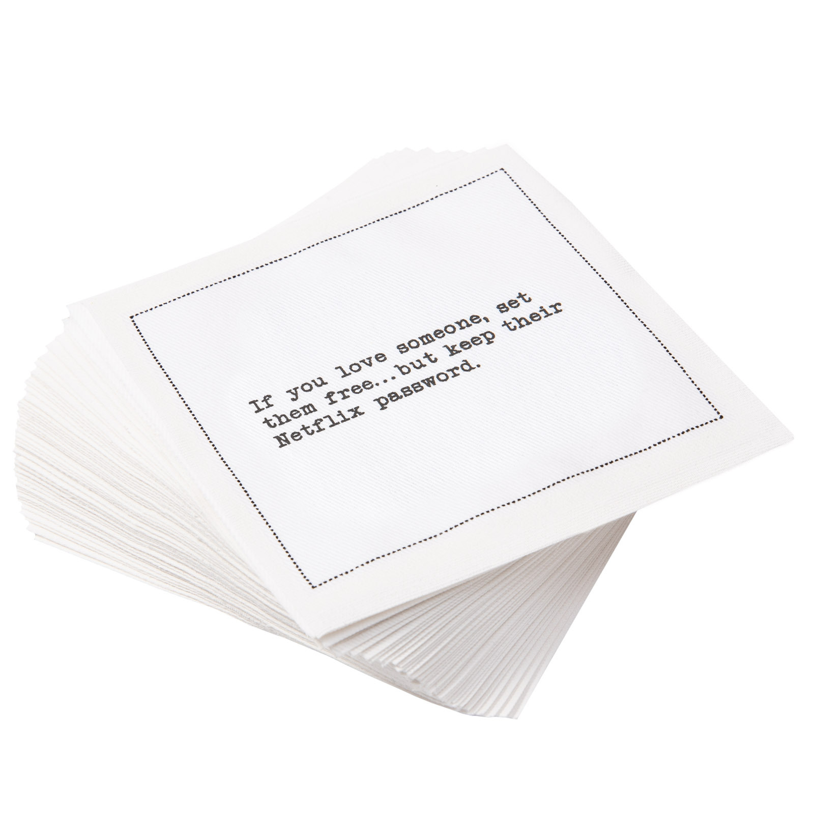 "White Cotton Cocktail with Relationship Quotes - 4.5"" x 4.5"" - 50 units"
