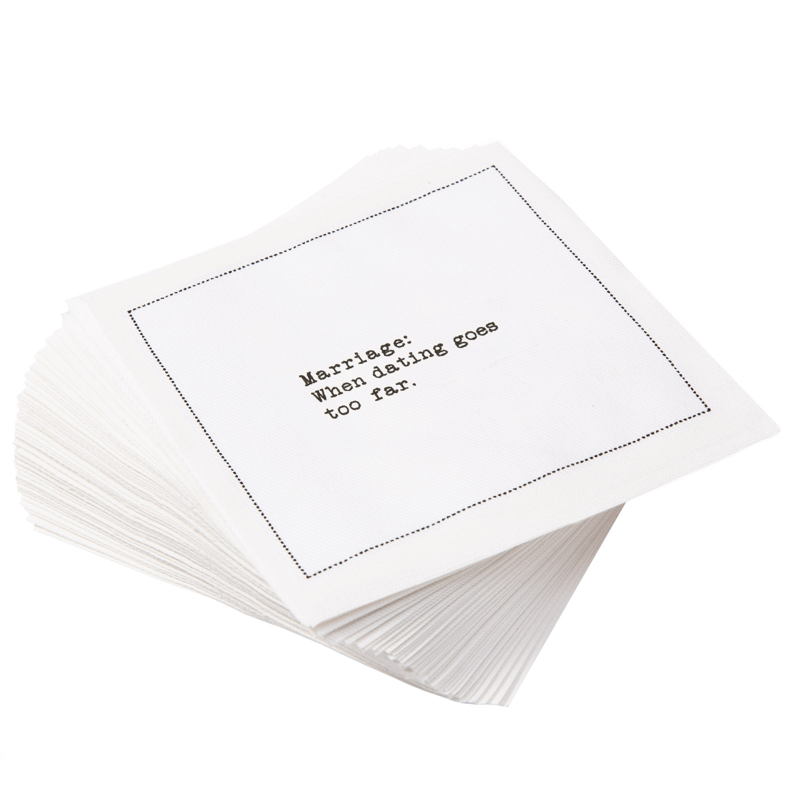 """White Cotton Cocktail with Marriage Quotes - 4.5"""" x 4.5"""" - 1200 units - 50 units per pack"""