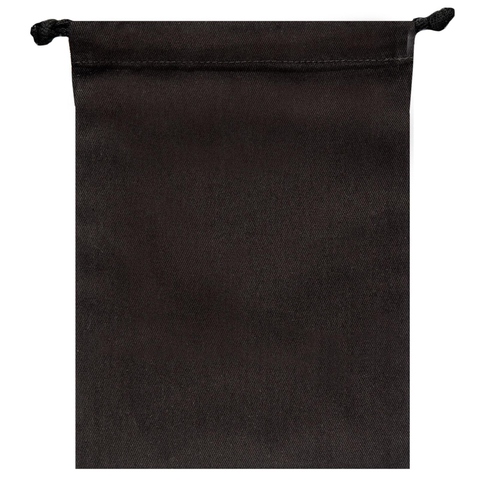 "Signature Napkins Face Covering Storage Pouch – 8"" x 6"" Drawstring Bag - 100% Cotton – 10 x Pack - Black"