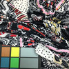 black white red pink paisley floral knit spandex fabric