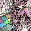 pink purple black floral chiffon fabric