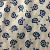 beige navy floral waffle knit fabric_261583