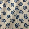 beige navy floral waffle knit fabric_261584