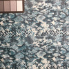 Teal Coated Snake Print Poly-Cotton