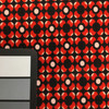 Geometric Red Floral on Black Matte Smooth Poly-Knit