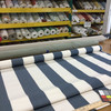 2.3 Yard Piece of Indoor / Outdoor Fabric   Blue / White Stripes   54 Wide   Upholstery