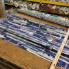 """2.8 Yard Piece of Indoor / Outdoor Upholstery Fabric   Abstract Blue / Off White   54"""" Wide"""