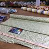 "3.3 Yard Piece of Drapery Fabric   Damask Sage Green / Pale Yellow   54"" Wide"