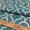 """4.8 Yard Piece of Outdoor Home Decor Fabric   Turquoise / White Scrollwork   54"""" Wide"""
