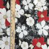 Red & White Floral on Black Mesh