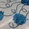 Blue Floral Swirl Applique Lace