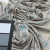 Embroidered Fern on Beige Stretch Knit