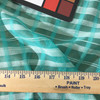 Teal Plaid Striped Chiffon