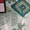 Gold Diamond Rhinestone on Sage Applique Lace