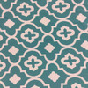 """Tiles Blue and White   Quatrefoil in Baltic by BELLA-DURA   Indoor / Outdoor Fabric   WATER RESISTANT   54"""" Wide   BTY"""