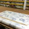 """4.8 Yard Piece of Home Decor Fabric   DaVinci Sketches Blue / White   Upholstery / Drapery   54"""" Wide"""