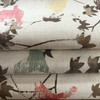 """Distressed Leaves Brown / Pink / Green on White   Keiko Truffle by Regal   Upholstery / Slipcover Fabric   54"""" Wide   By the Yard"""