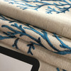 """Coral Embroidery Blue on Natural Beige   Nautical    Queensland Baltic by Regal Fabrics   Upholstery / Drapery Fabric   54"""" Wide   By the Yard"""