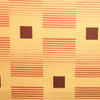 """2.25 Yard Piece of Red Burgundy Gold Geometric Square Striped Upholstery Fabric By The Yard 54""""W"""