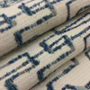 """Gaynor in color Lapis   Textural Modern Abstract in Blues on Off-White   Heavyweight Upholstery / Slipcover Fabric   Jacquard   54"""" Wide   By the Yard"""