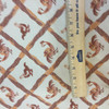"""Chicken Lattice in Orange / Red / Beige   Heavyweight Upholstery / Slipcover Fabric   Jacquard   54"""" Wide   By the Yard"""
